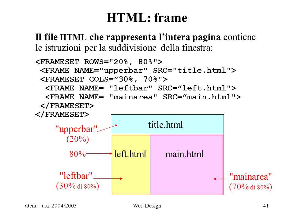 HTML: frame Il file HTML che rappresenta l'intera pagina contiene