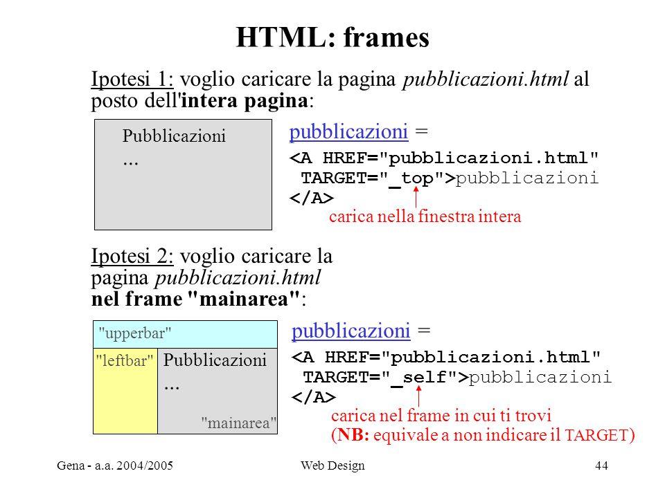 HTML: frames Ipotesi 1: voglio caricare la pagina pubblicazioni.html al. posto dell intera pagina: