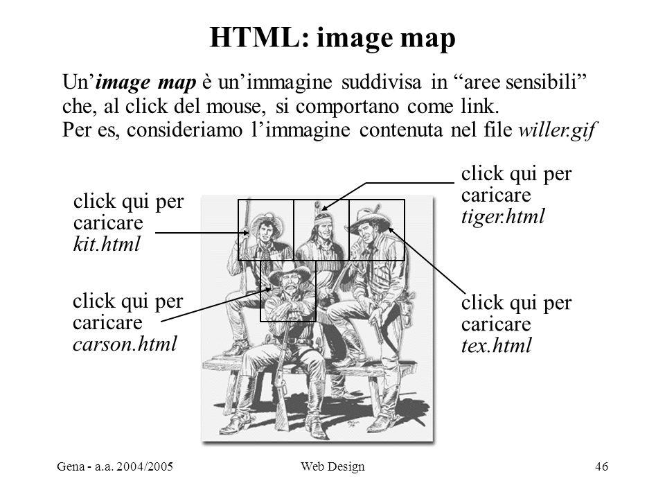 HTML: image map Un'image map è un'immagine suddivisa in aree sensibili che, al click del mouse, si comportano come link.