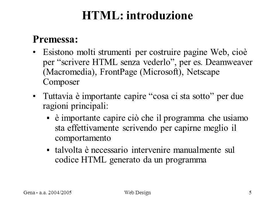 HTML: introduzione Premessa: