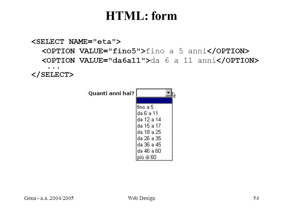 HTML: form <SELECT NAME= eta >