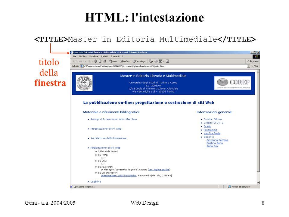 HTML: l intestazione titolo della finestra