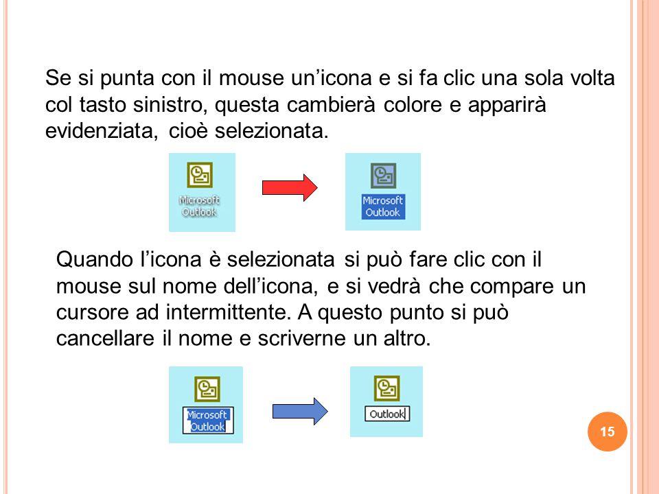 Se si punta con il mouse un'icona e si fa clic una sola volta col tasto sinistro, questa cambierà colore e apparirà evidenziata, cioè selezionata.