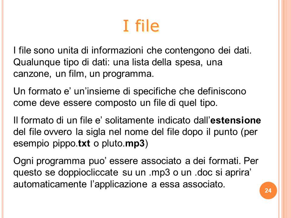 I file I file sono unita di informazioni che contengono dei dati. Qualunque tipo di dati: una lista della spesa, una canzone, un film, un programma.