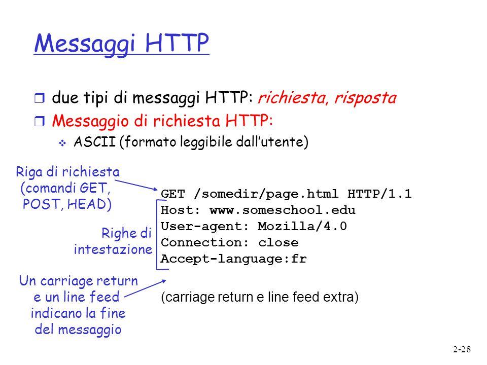 Messaggi HTTP due tipi di messaggi HTTP: richiesta, risposta