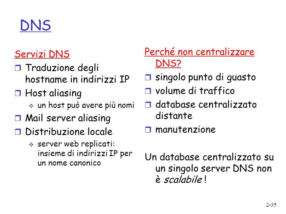 DNS Perché non centralizzare DNS Servizi DNS