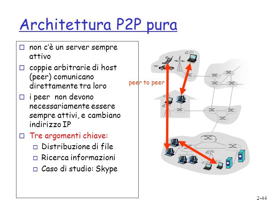 Architettura P2P pura non c'è un server sempre attivo