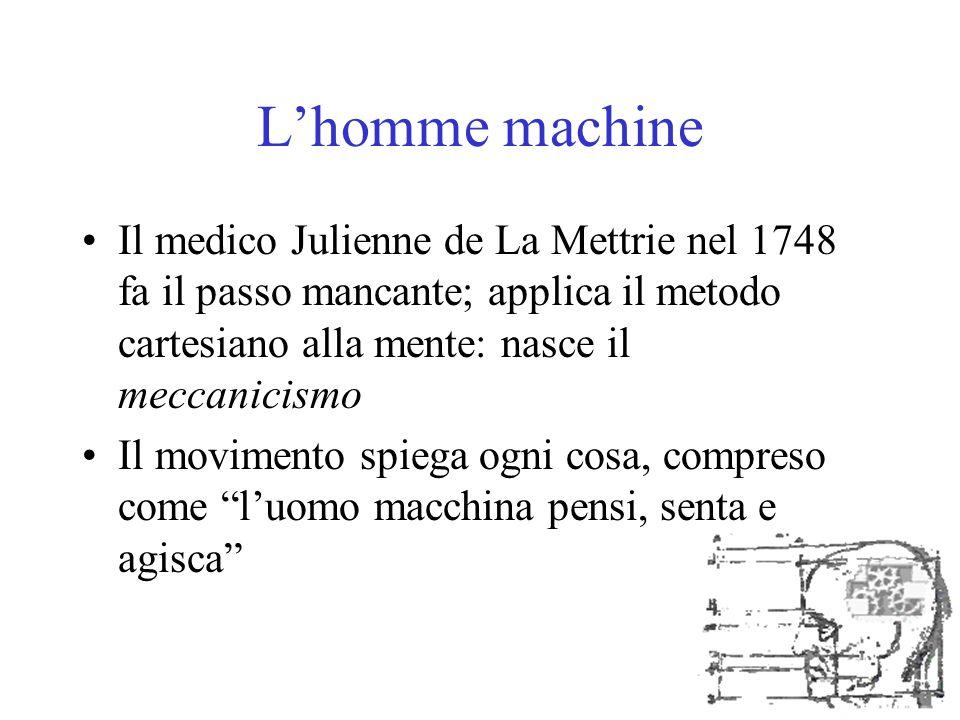L'homme machine Il medico Julienne de La Mettrie nel 1748 fa il passo mancante; applica il metodo cartesiano alla mente: nasce il meccanicismo.