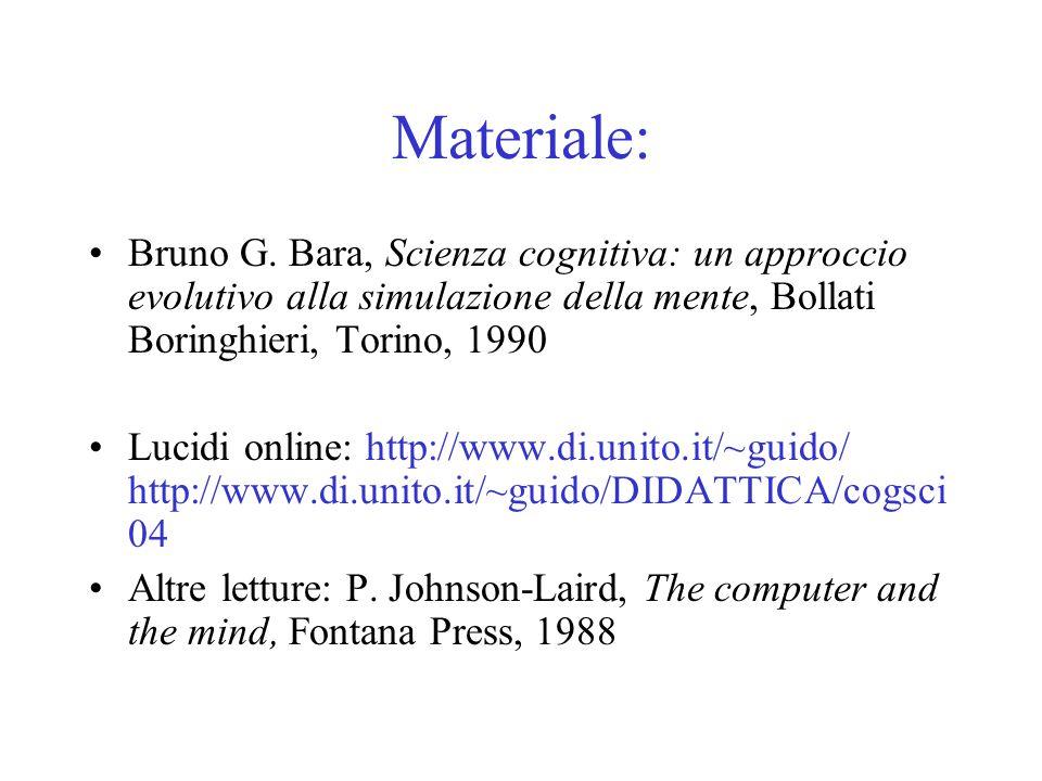 Materiale: Bruno G. Bara, Scienza cognitiva: un approccio evolutivo alla simulazione della mente, Bollati Boringhieri, Torino, 1990.