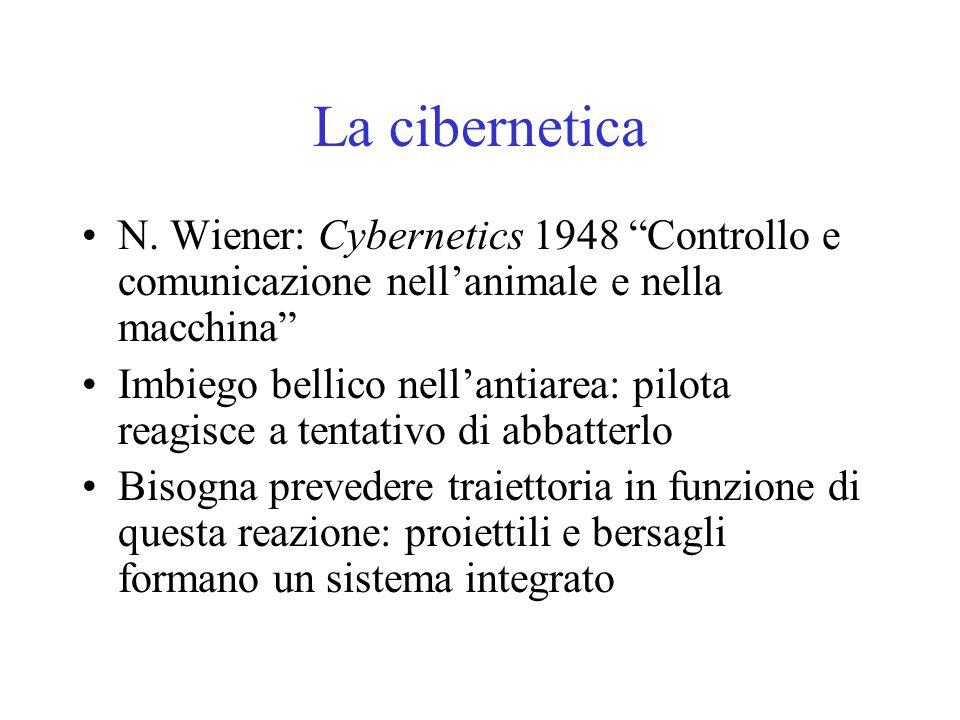 La cibernetica N. Wiener: Cybernetics 1948 Controllo e comunicazione nell'animale e nella macchina