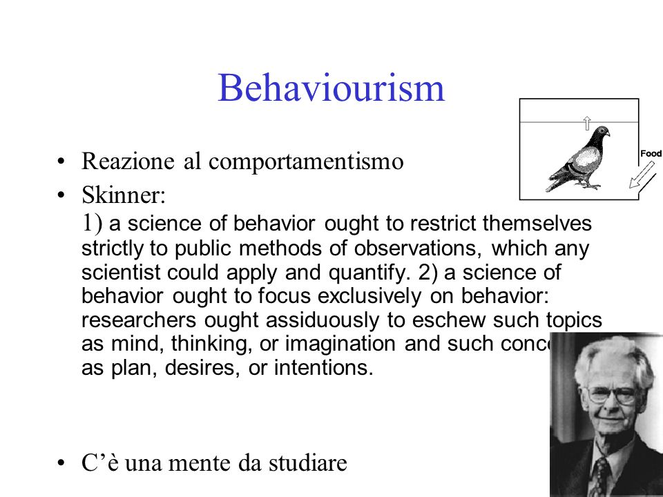 Behaviourism Reazione al comportamentismo
