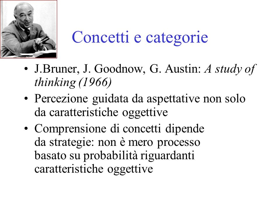 Concetti e categorie J.Bruner, J. Goodnow, G. Austin: A study of thinking (1966)