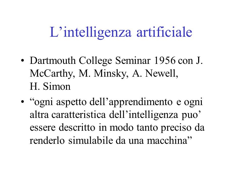 L'intelligenza artificiale