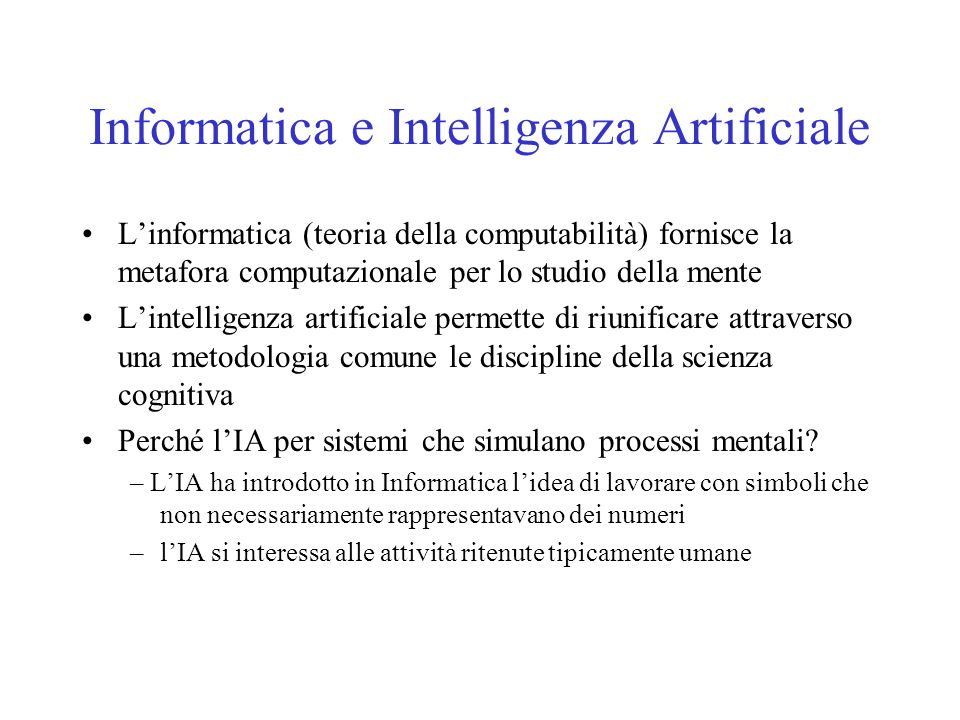 Informatica e Intelligenza Artificiale