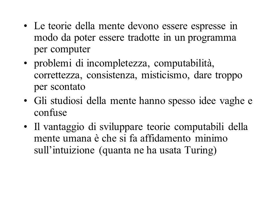 Le teorie della mente devono essere espresse in modo da poter essere tradotte in un programma per computer