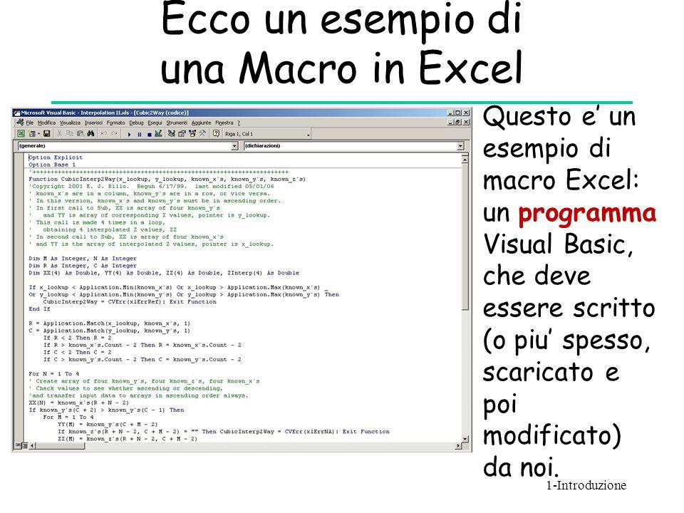 Ecco un esempio di una Macro in Excel