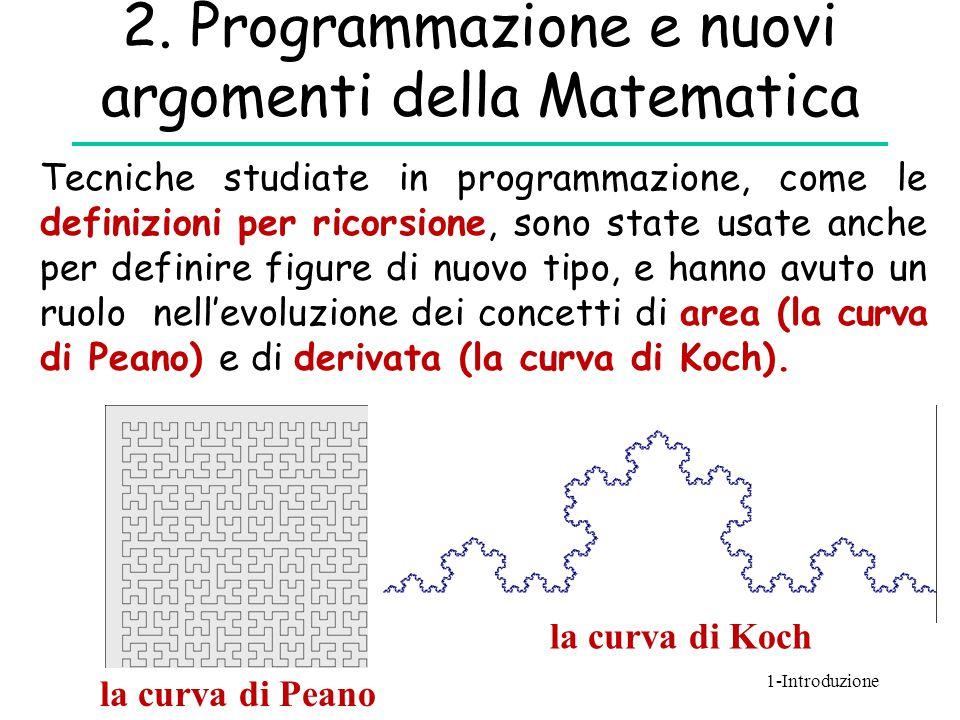 2. Programmazione e nuovi argomenti della Matematica