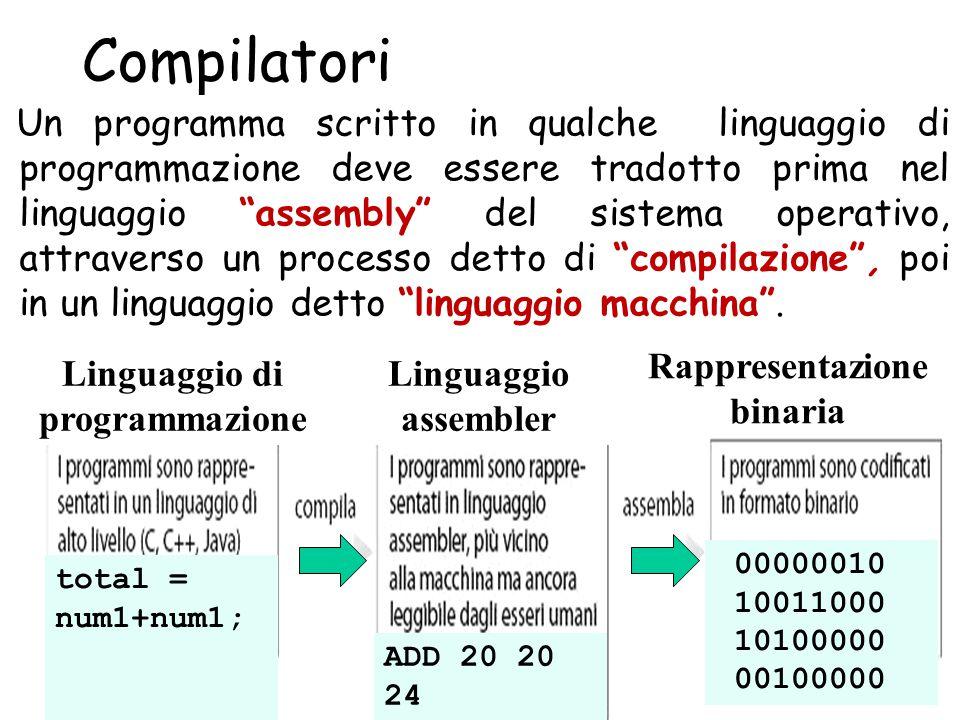 Rappresentazione binaria Linguaggio di programmazione