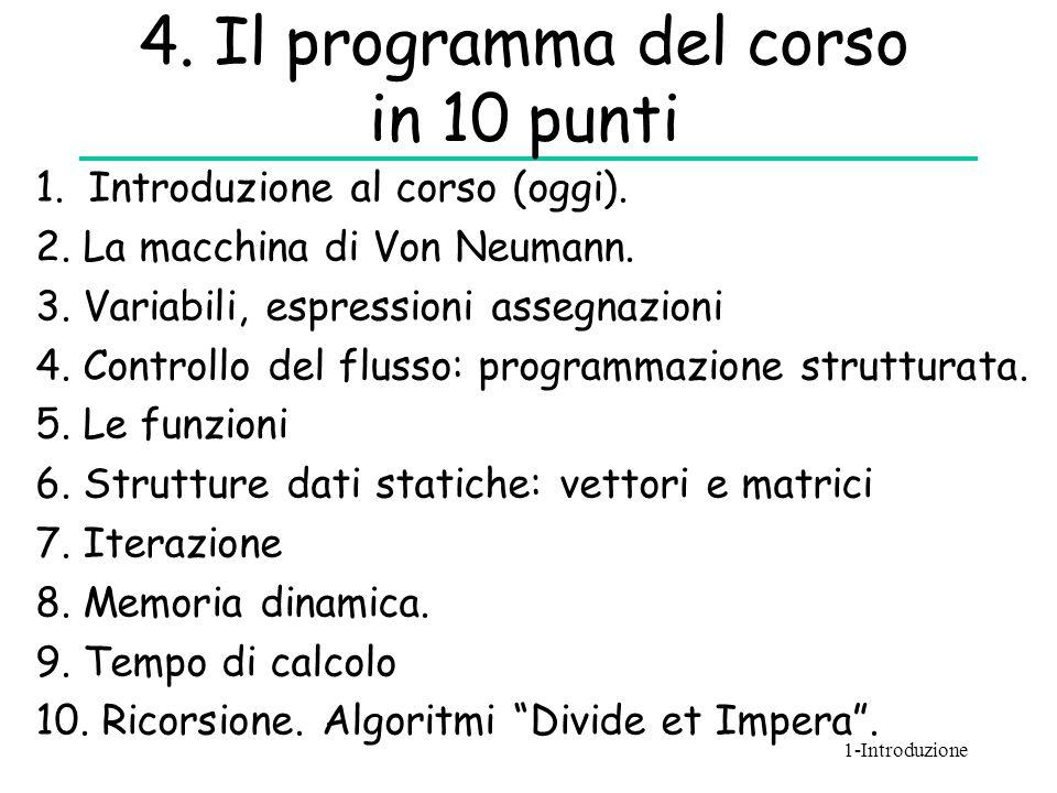 4. Il programma del corso in 10 punti