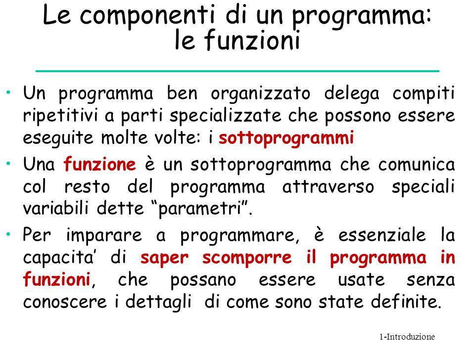 Le componenti di un programma: le funzioni