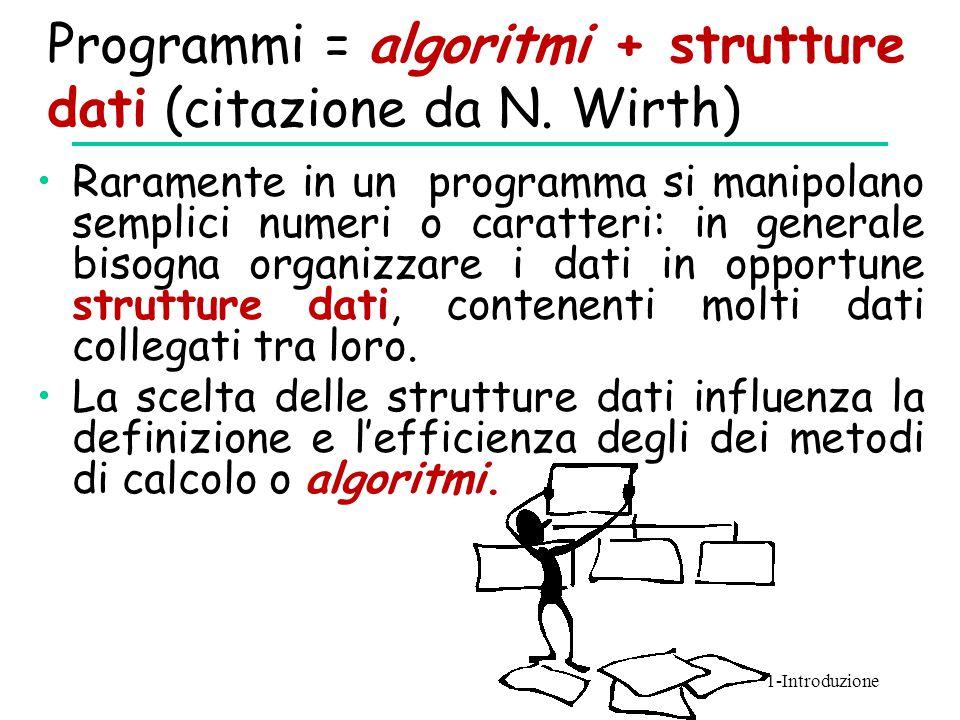 Programmi = algoritmi + strutture dati (citazione da N. Wirth)