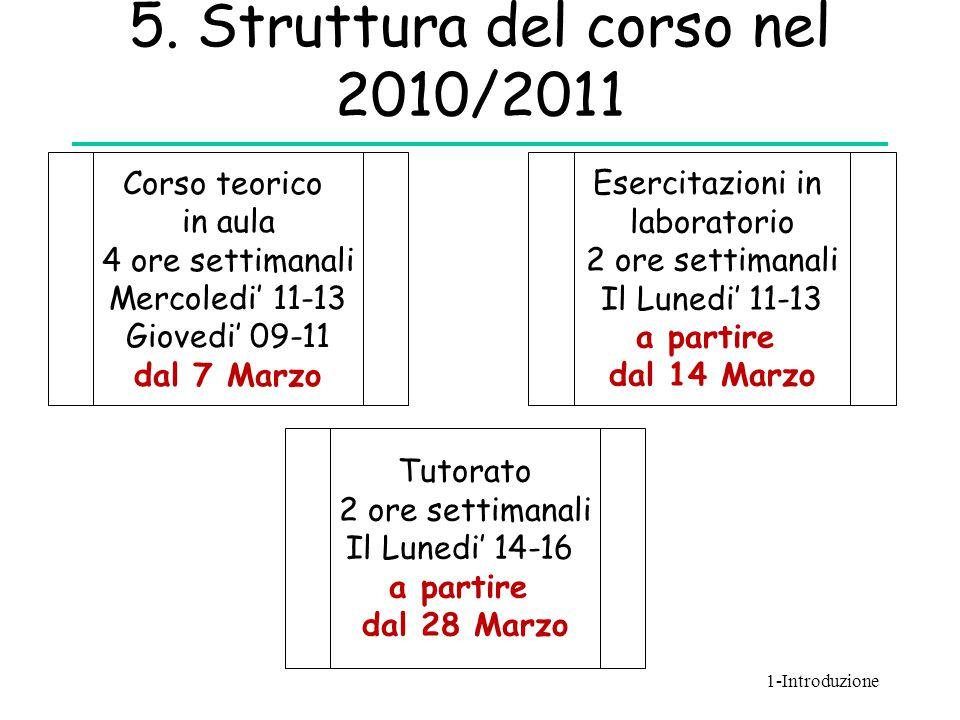 5. Struttura del corso nel 2010/2011