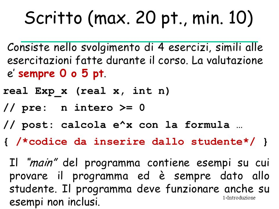Scritto (max. 20 pt., min. 10)