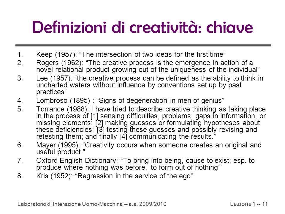 Definizioni di creatività: chiave
