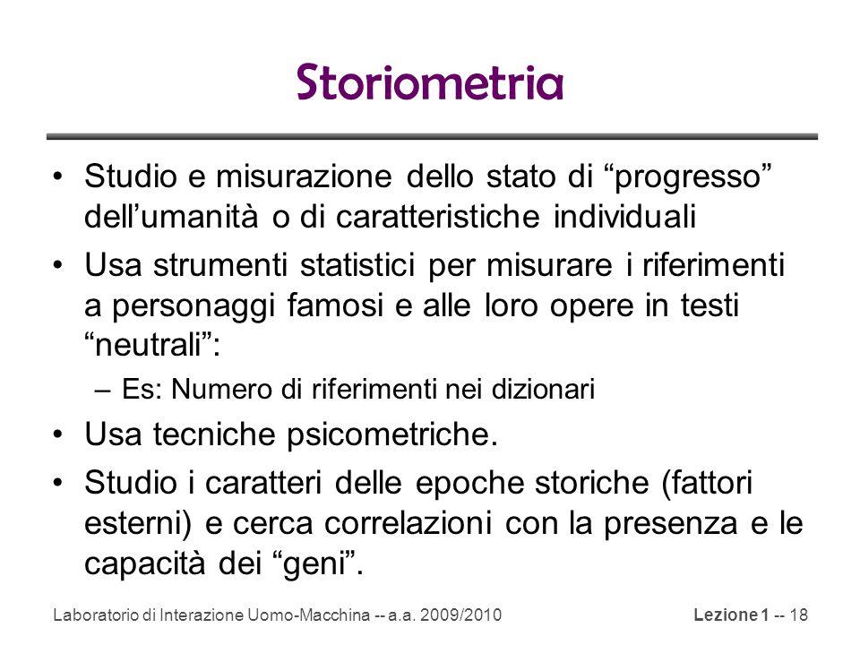 Storiometria Studio e misurazione dello stato di progresso dell'umanità o di caratteristiche individuali.