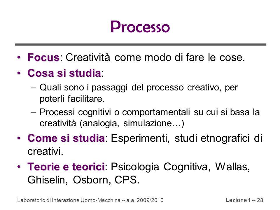 Processo Focus: Creatività come modo di fare le cose. Cosa si studia: