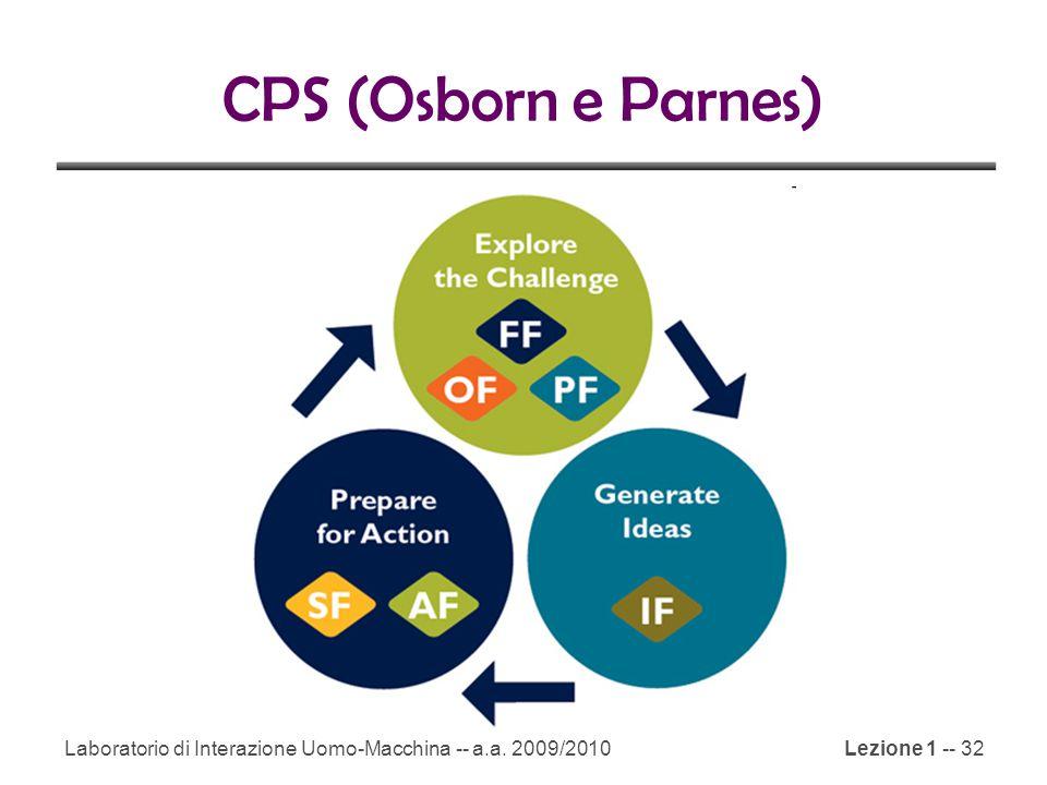 CPS (Osborn e Parnes) Laboratorio di Interazione Uomo-Macchina -- a.a. 2009/2010