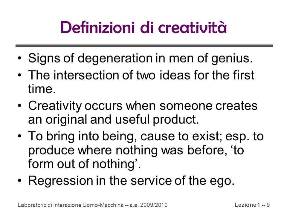 Definizioni di creatività