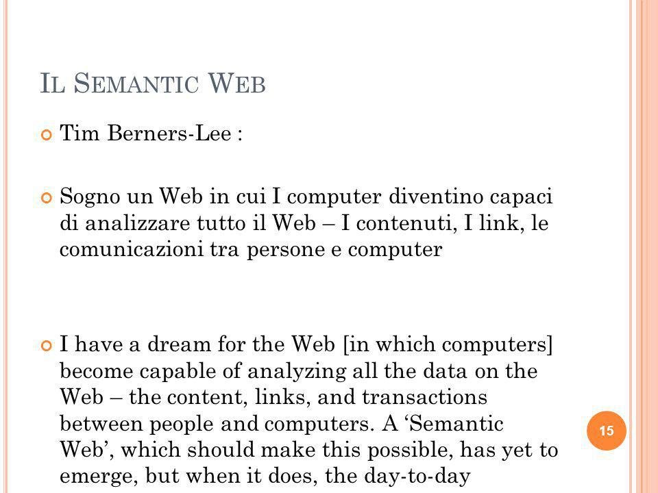 Il Semantic Web Tim Berners-Lee :