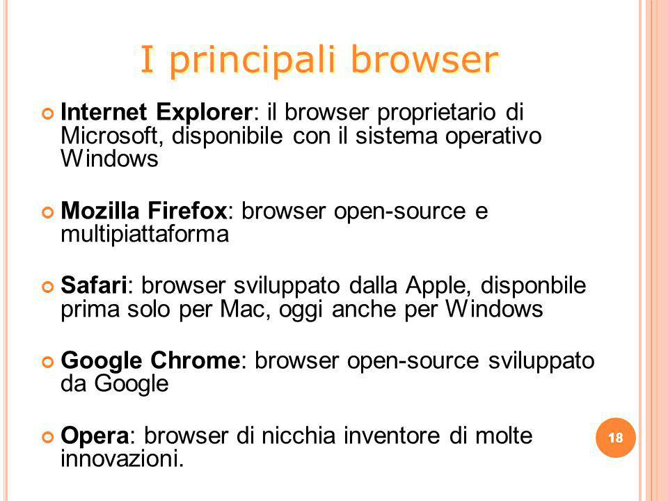I principali browser Internet Explorer: il browser proprietario di Microsoft, disponibile con il sistema operativo Windows.