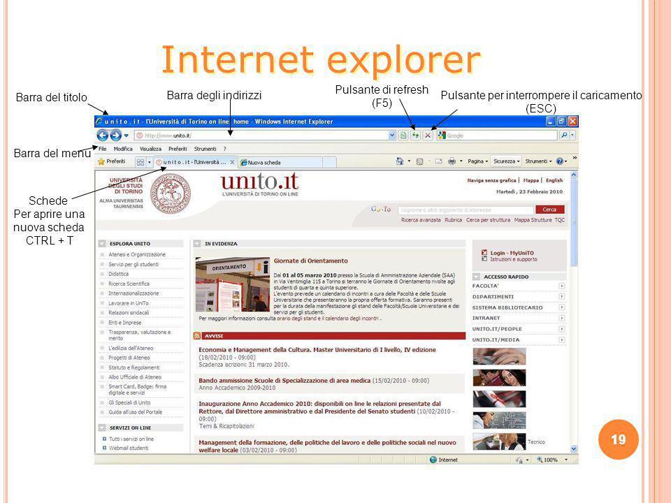 Internet explorer 19 Pulsante di refresh (F5) Barra del titolo