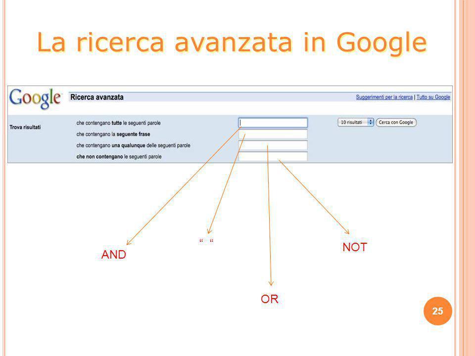 La ricerca avanzata in Google