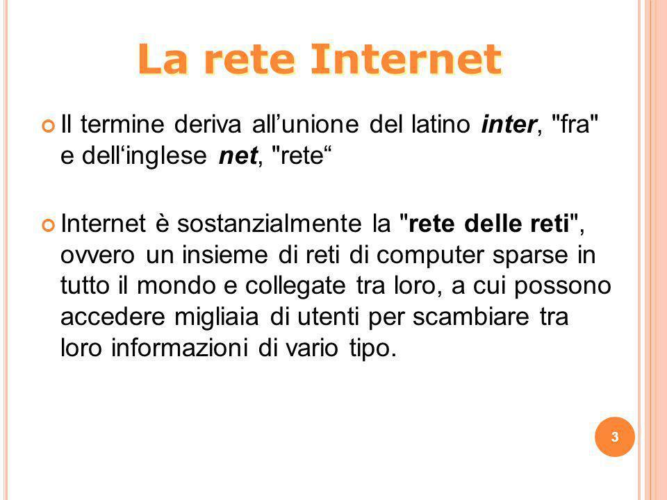 La rete Internet Il termine deriva all'unione del latino inter, fra e dell'inglese net, rete