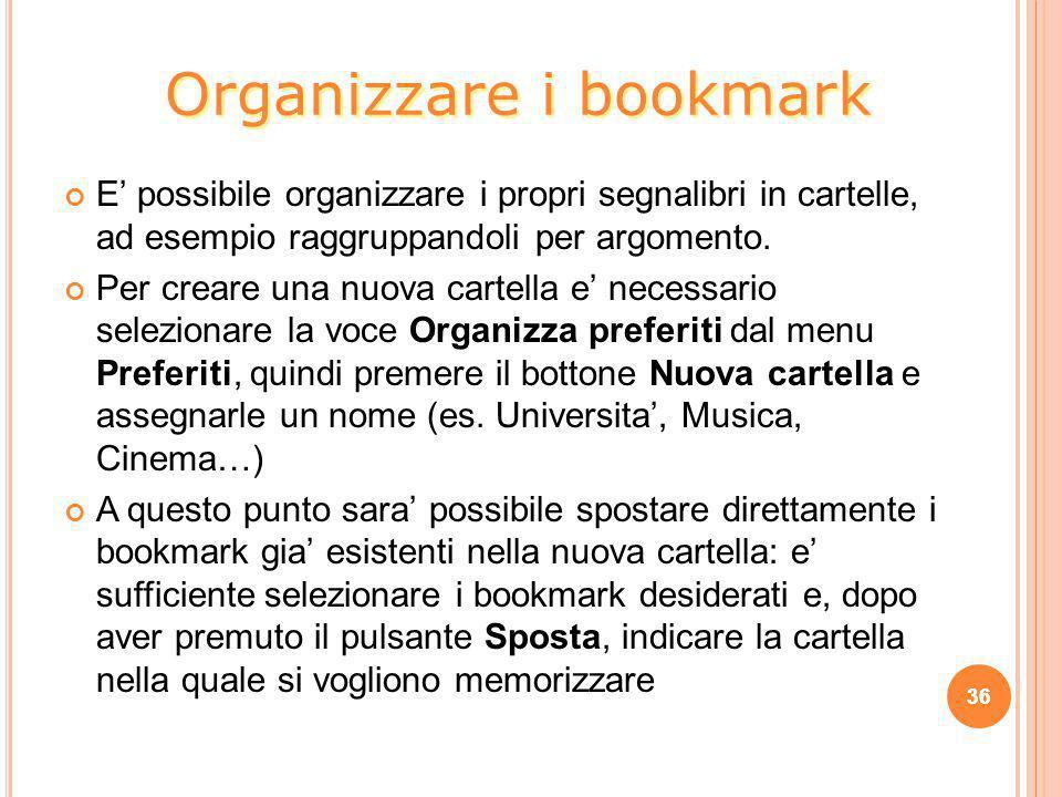 Organizzare i bookmark