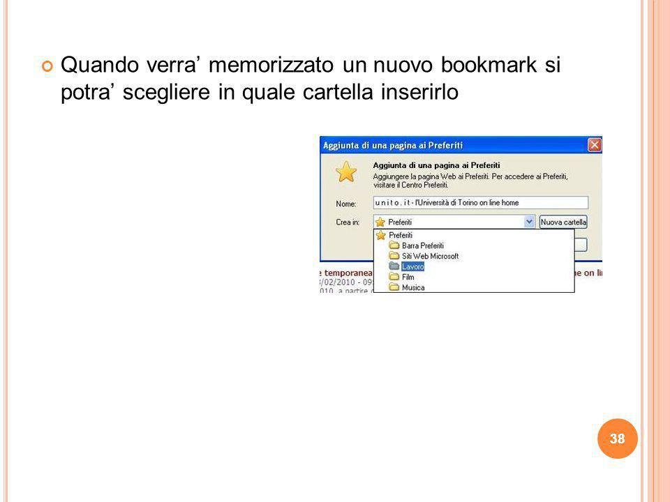 Quando verra' memorizzato un nuovo bookmark si potra' scegliere in quale cartella inserirlo