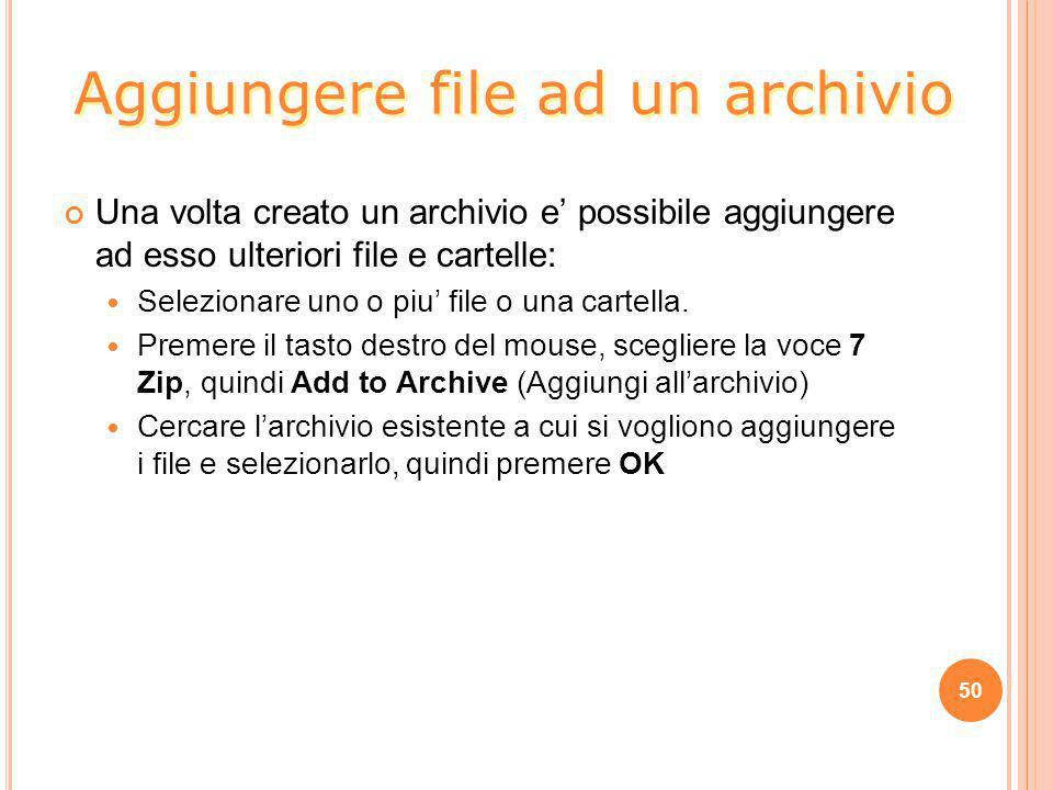 Aggiungere file ad un archivio