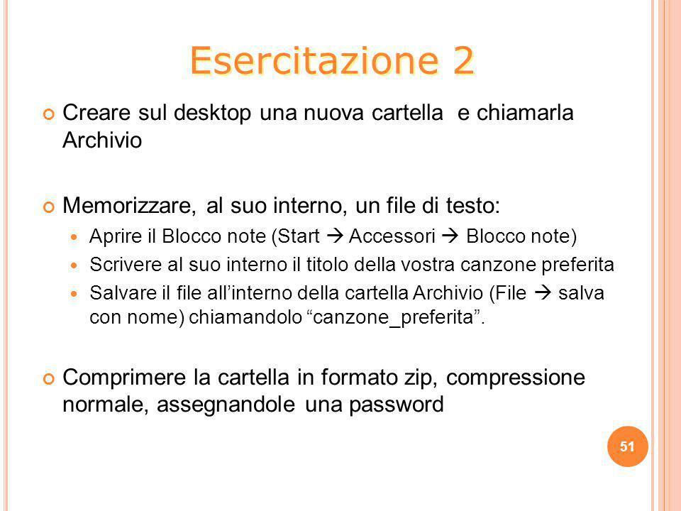 Esercitazione 2 Creare sul desktop una nuova cartella e chiamarla Archivio. Memorizzare, al suo interno, un file di testo: