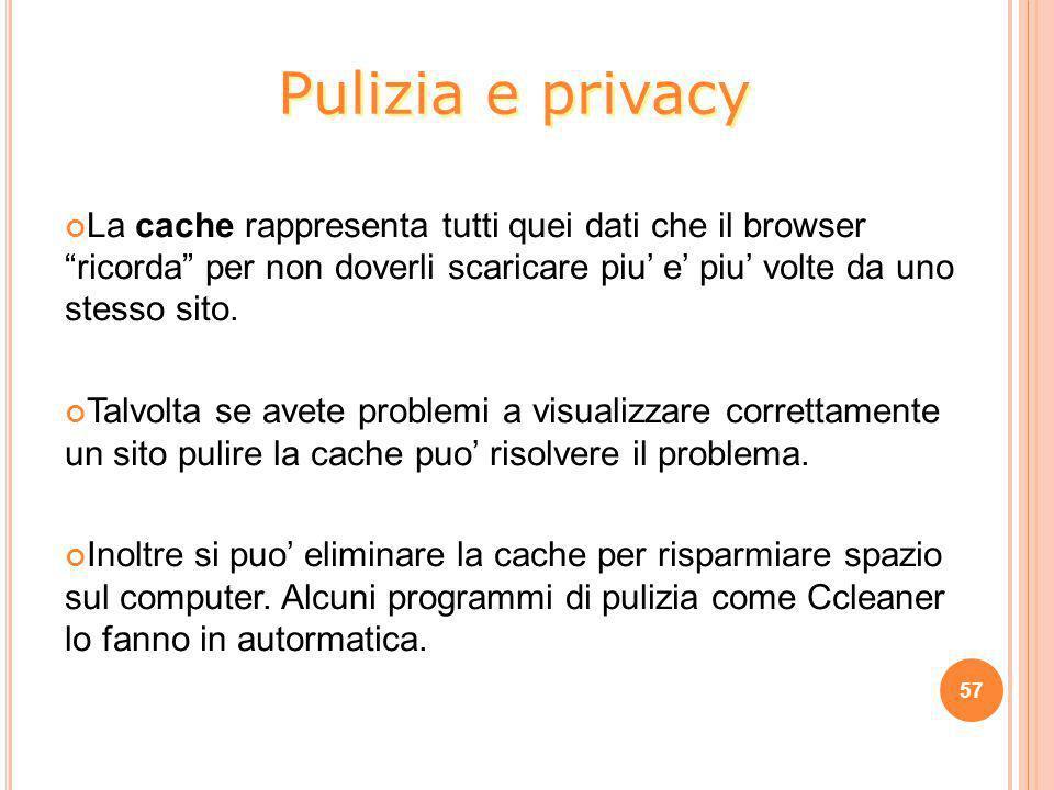 Pulizia e privacy La cache rappresenta tutti quei dati che il browser ricorda per non doverli scaricare piu' e' piu' volte da uno stesso sito.