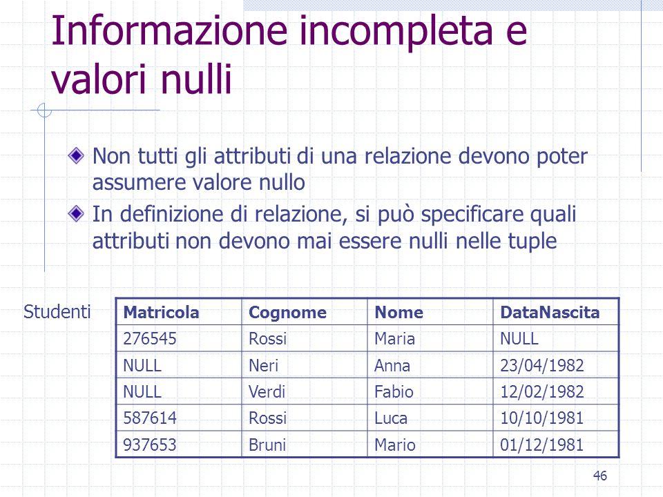 Informazione incompleta e valori nulli