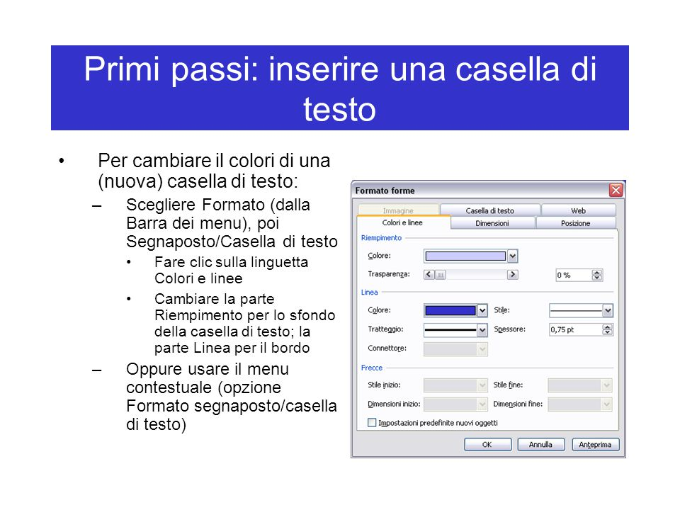 Primi passi: inserire una casella di testo