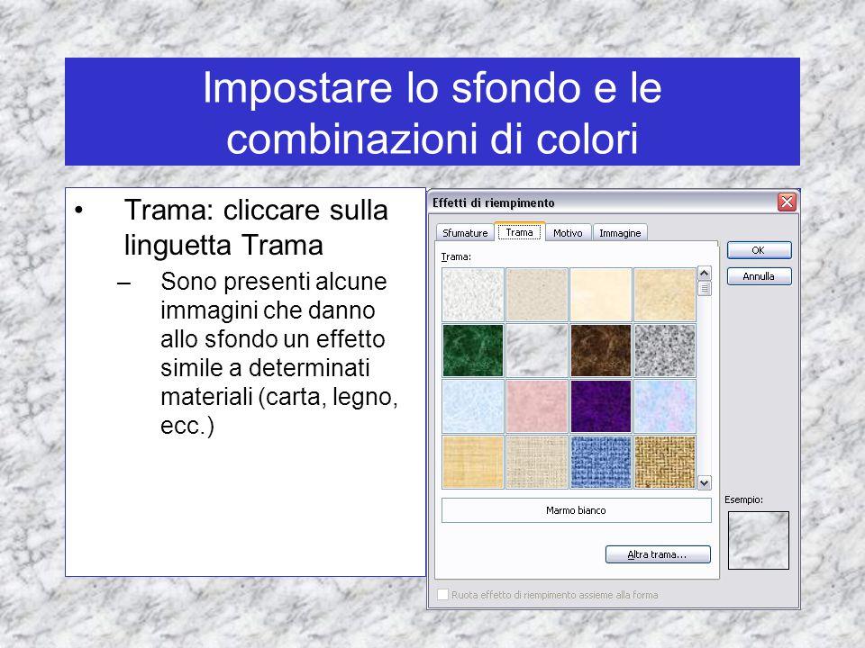 Impostare lo sfondo e le combinazioni di colori