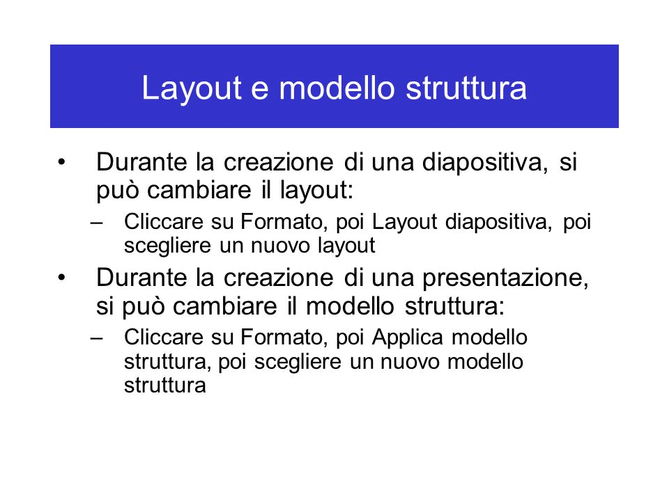 Layout e modello struttura