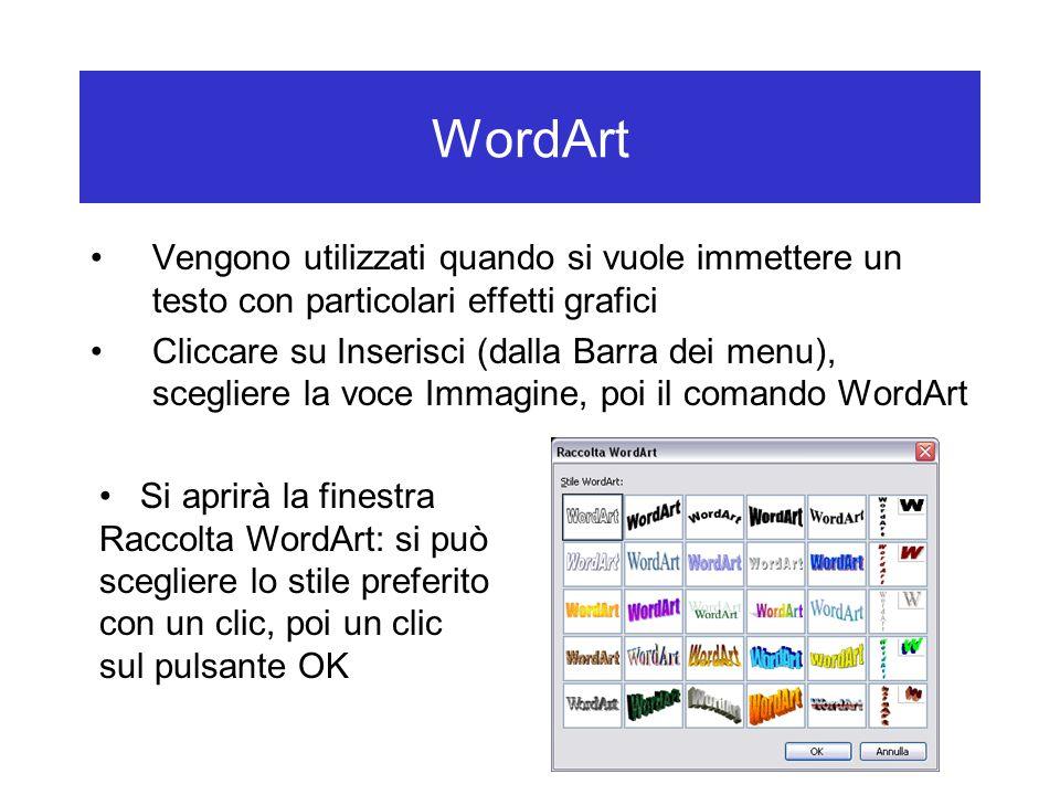 WordArt Vengono utilizzati quando si vuole immettere un testo con particolari effetti grafici.