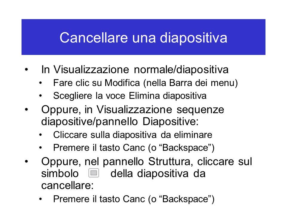 Cancellare una diapositiva
