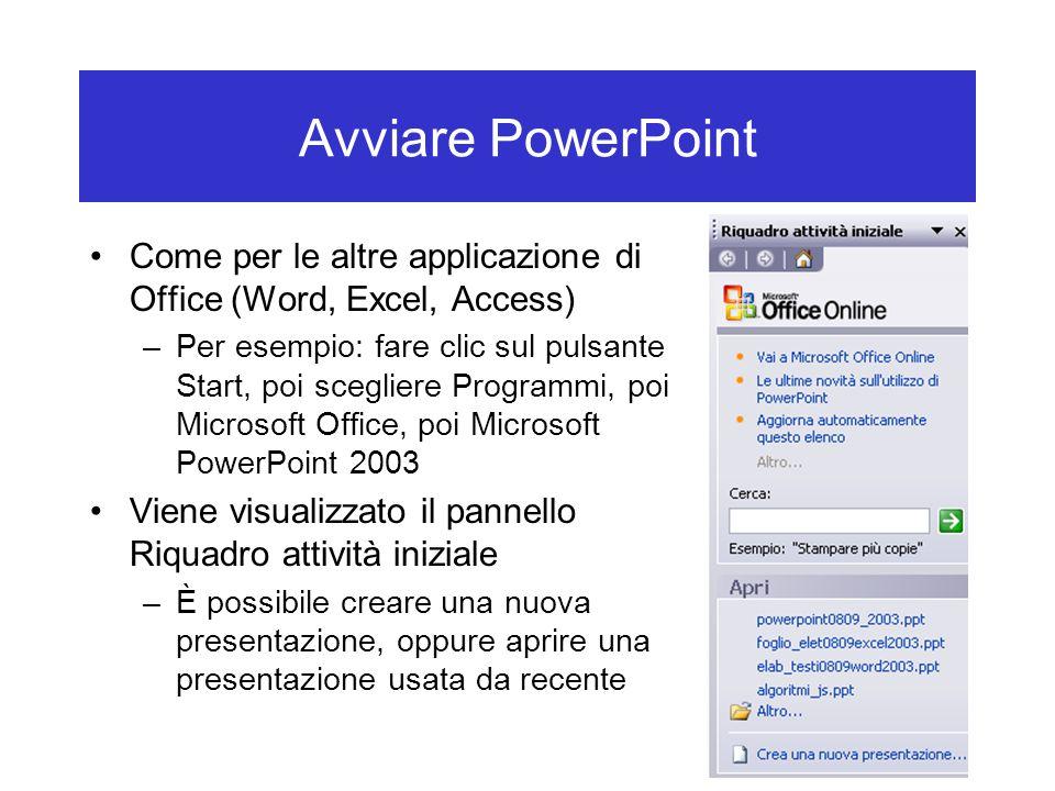 Avviare PowerPoint Come per le altre applicazione di Office (Word, Excel, Access)