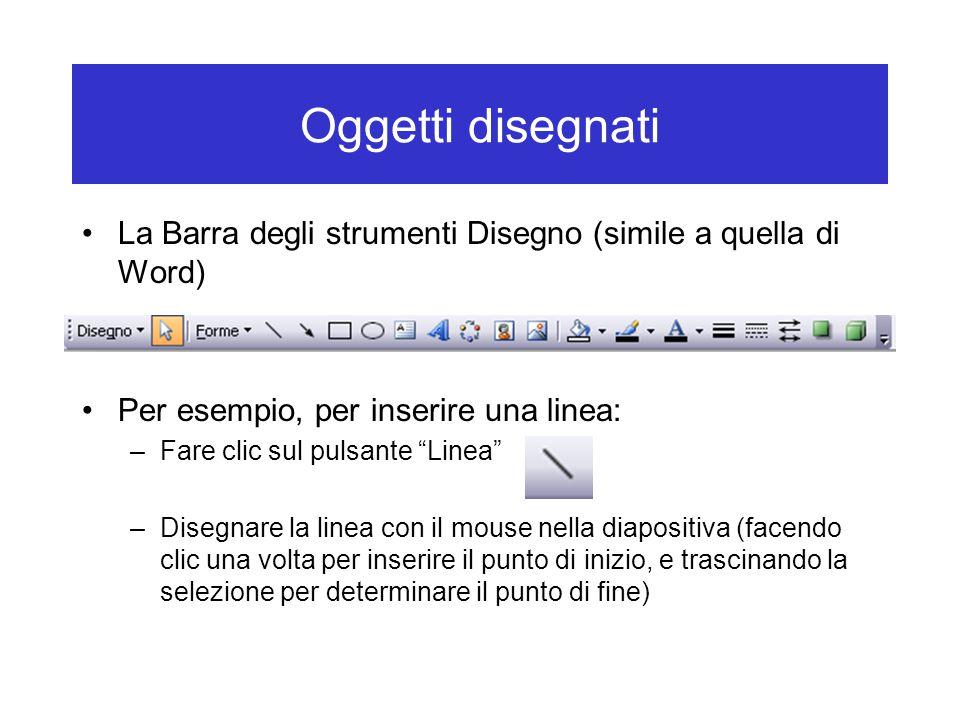 Oggetti disegnati La Barra degli strumenti Disegno (simile a quella di Word) Per esempio, per inserire una linea: